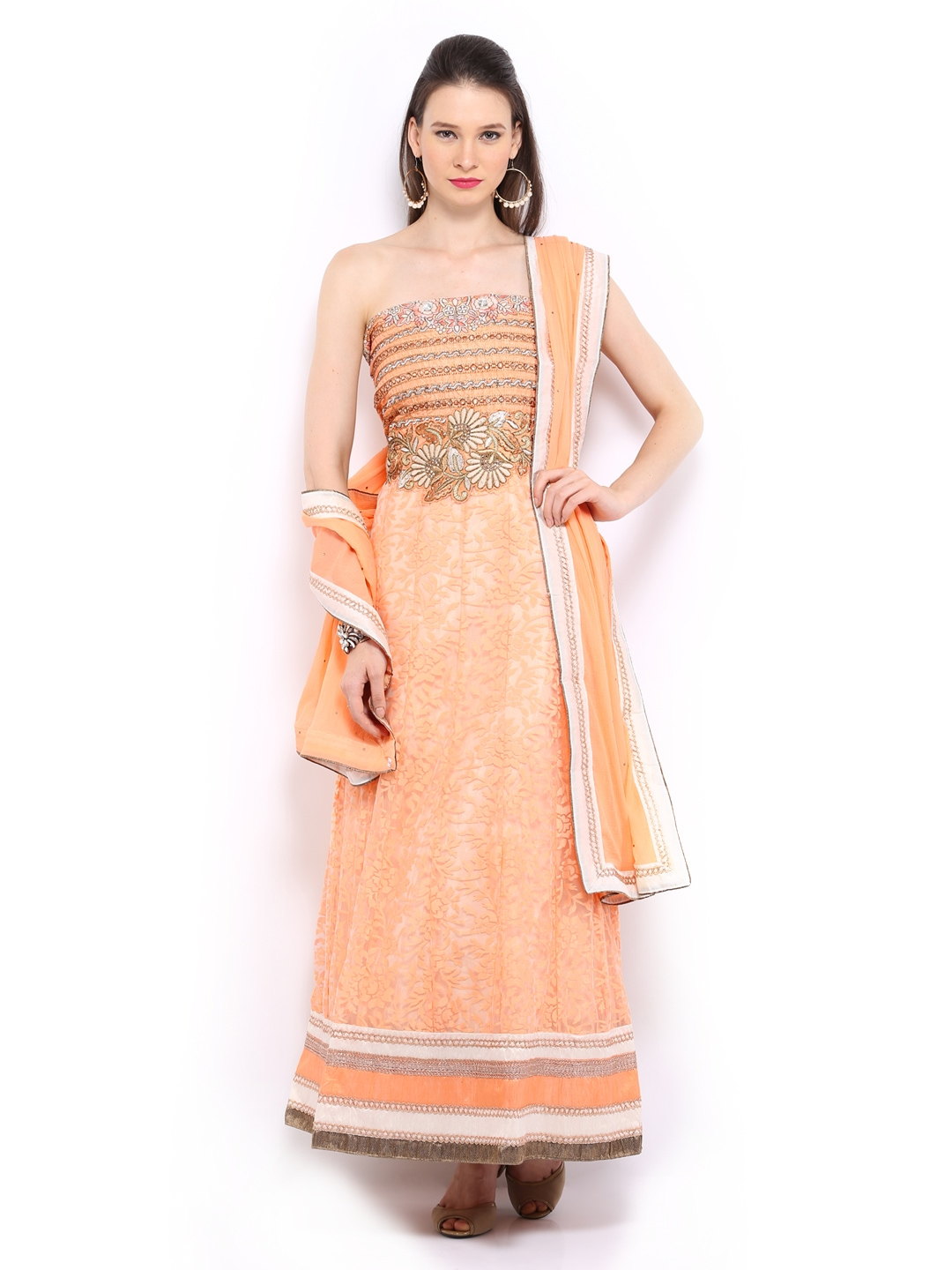 Myntra bridal peach coloured brasso semi stitched dress for Wedding dress material online