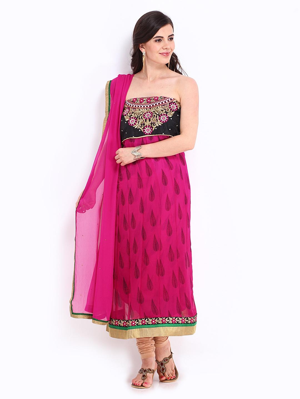 Myntra bridal pink black chiffon unstitched anarkali for Wedding dress material online