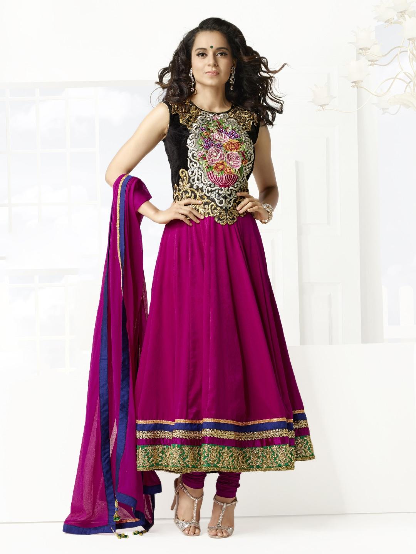 Myntra bridal pink black velvet semi stitched anarkali for Wedding dress material online