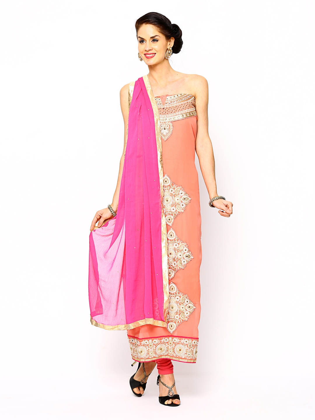 Myntra bridal peach coloured embroidered semi stitched for Wedding dress material online