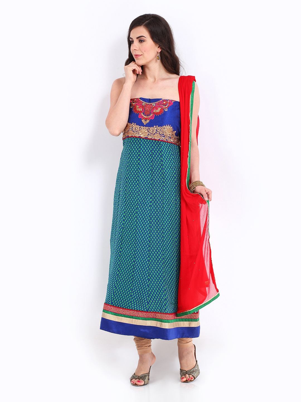 Myntra bridal blue green chiffon unstitched anarkali for Wedding dress material online