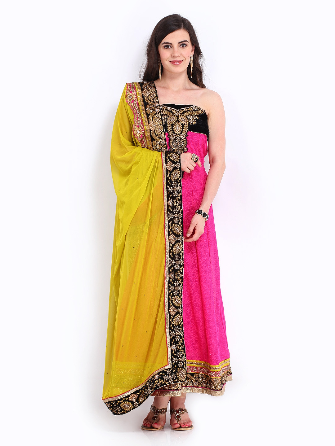Myntra bridal pink georgette unstitched dress material for Wedding dress material online