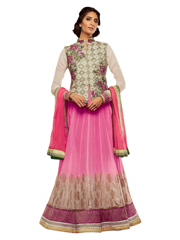 Myntra bridal pink beige supernet anarkali semi stitched for Wedding dress material online