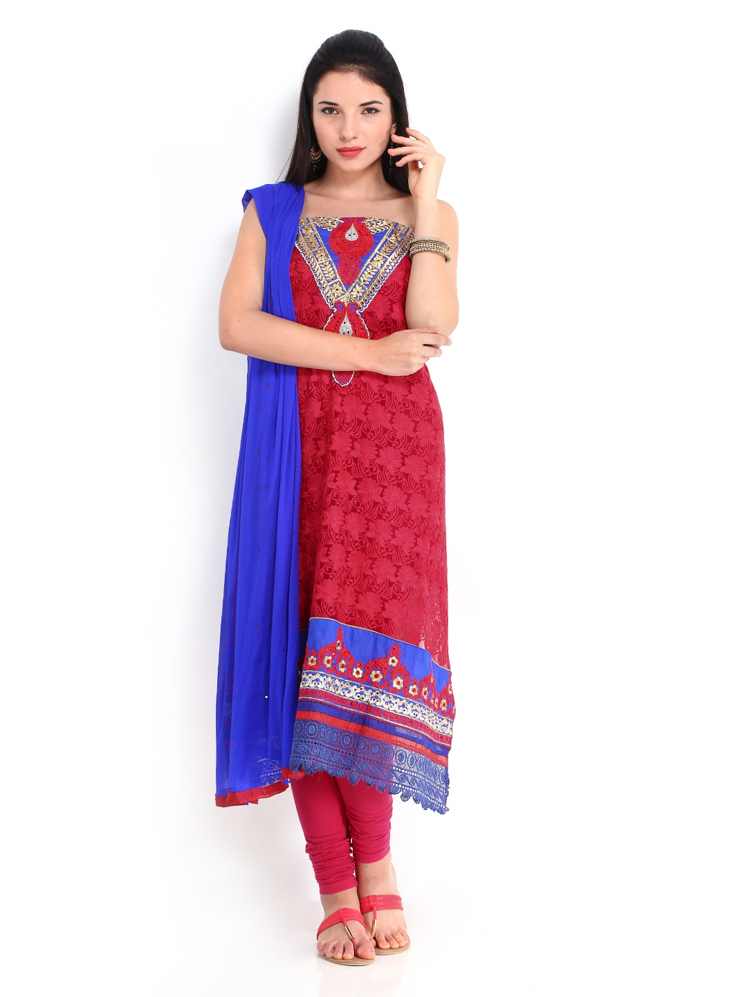 Myntra bridal red chiffon unstitched dress material 435223 for Wedding dress material online