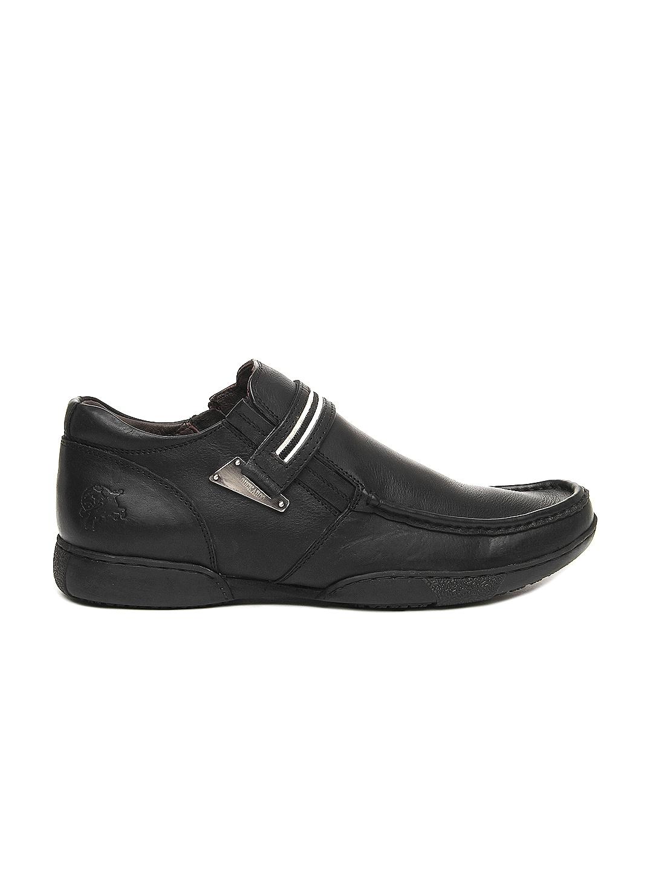 myntra buckaroo black leather casual shoes 204359