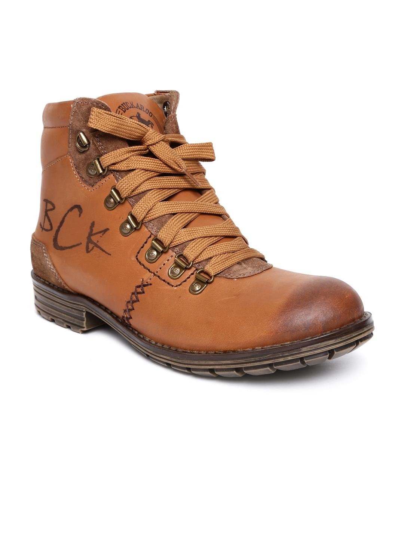 myntra buckaroo brown leather boots 524243 buy