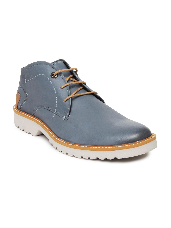 myntra buckaroo grey leather casual shoes 524081 buy
