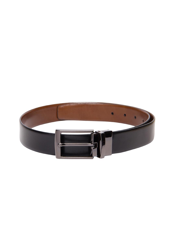 myntra calvadoss black brown reversible leather belt
