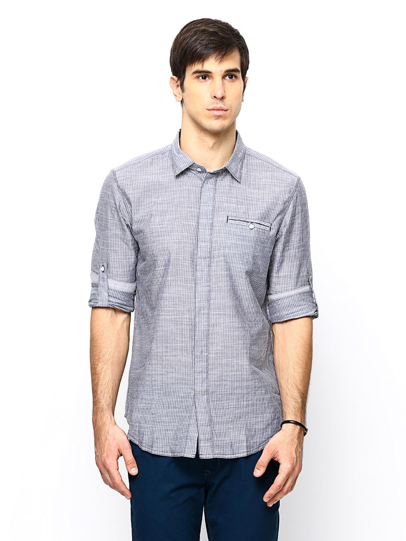 Myntra Calvin Klein Jeans Men Grey Striped Casual Shirt