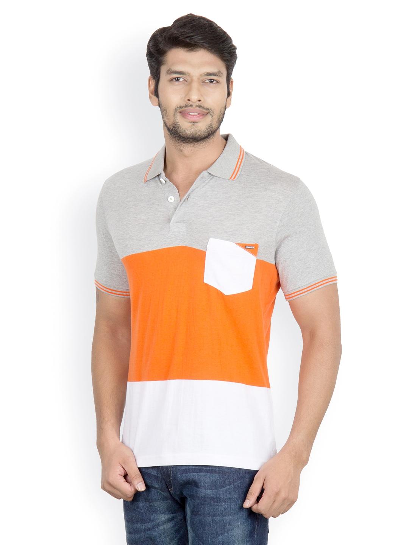Myntra camino men grey orange white polo t shirt 510051 for Orange polo shirt mens