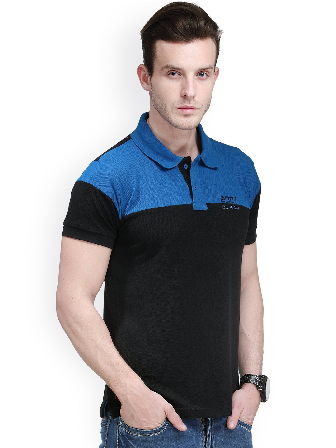 Myntra canary london black blue slim fit polo t shirt for Black fitted polo shirt
