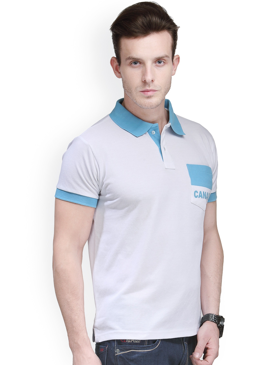 Myntra canary london white blue patch pocket slim fit for Polo t shirts with pocket online