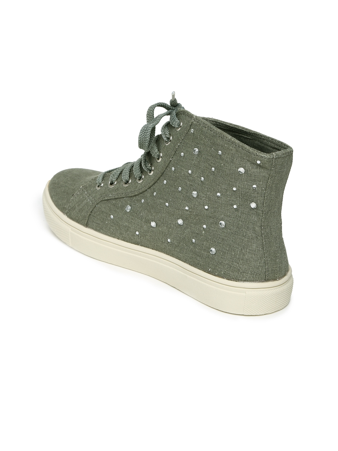 myntra carlton olive green casual shoes