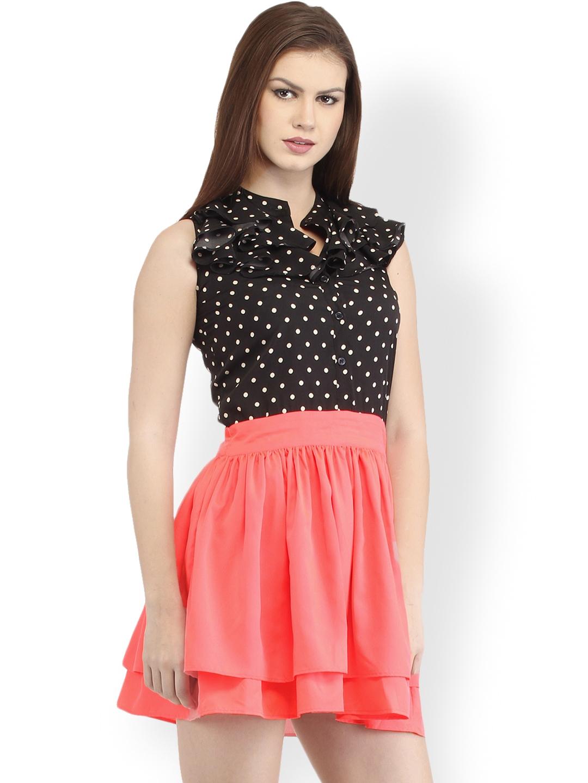 Myntra Cation Black Amp Peach Coloured Polka Dot Printed Fit