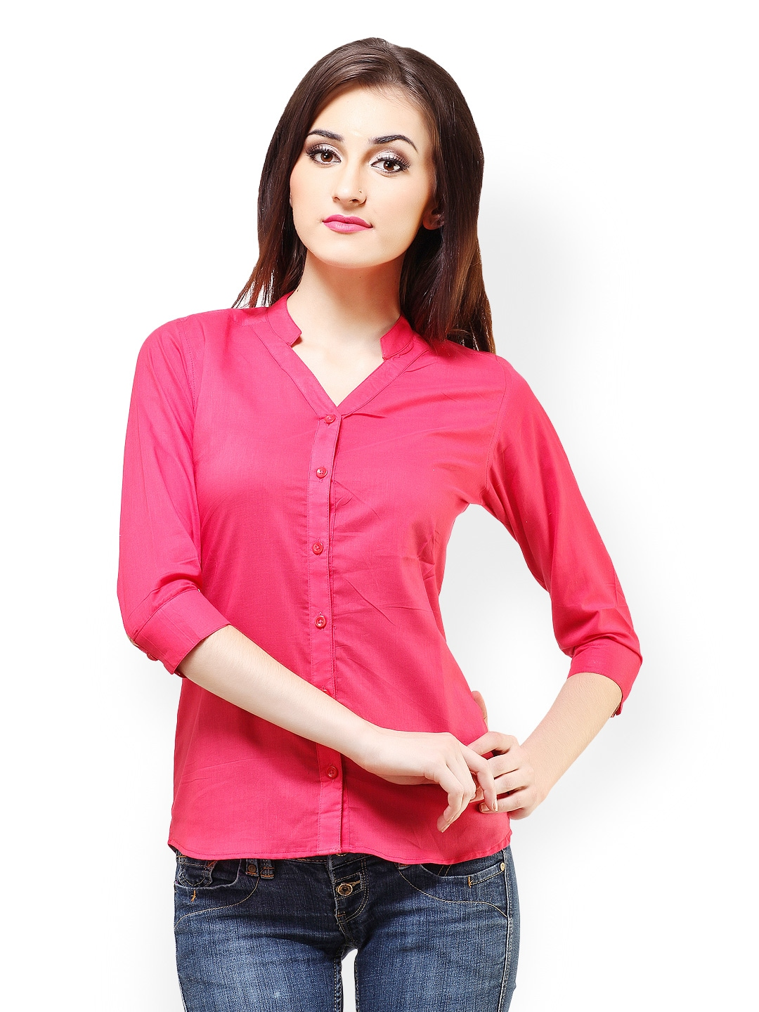 Myntra cation women pink shirt 423155 buy myntra cation for Shirts online shopping lowest price