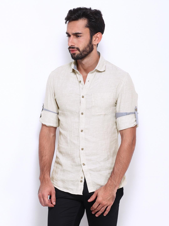 Myntra celio men off white linen slim fit casual shirt for Slim fit white linen shirt