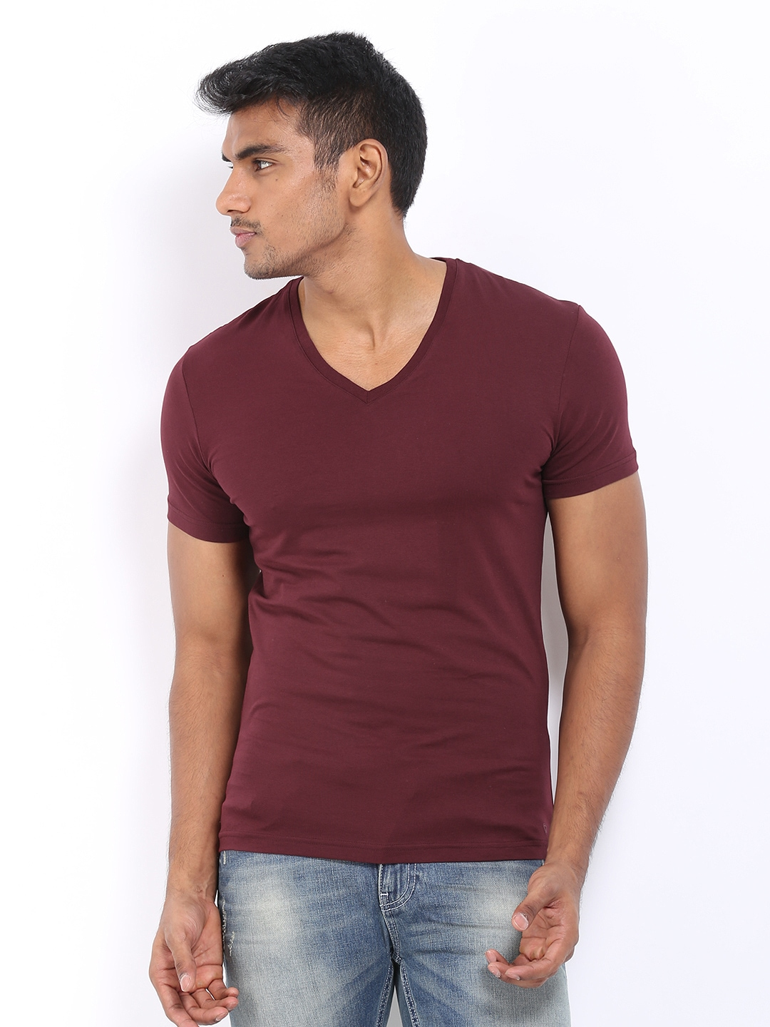 myntra celio men maroon t shirt 290377 buy myntra celio. Black Bedroom Furniture Sets. Home Design Ideas