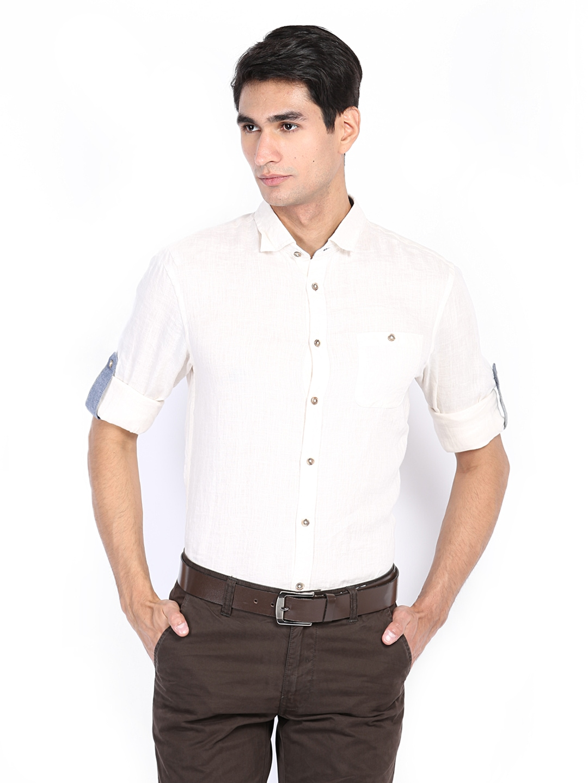 Myntra celio men off white slim fit linen casual shirt for Slim fit white linen shirt