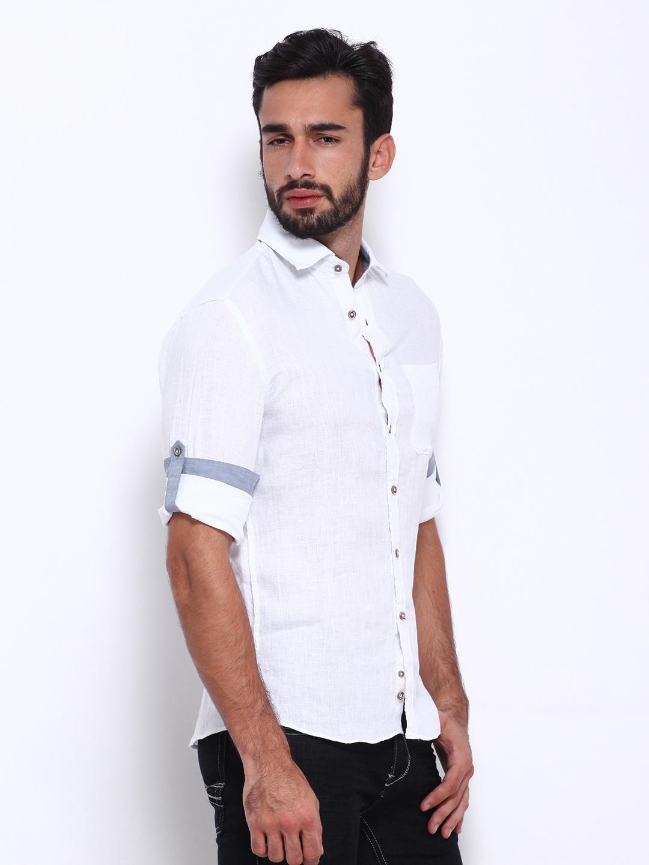 Myntra celio men white linen slim fit casual shirt 290263 for Slim fit white linen shirt