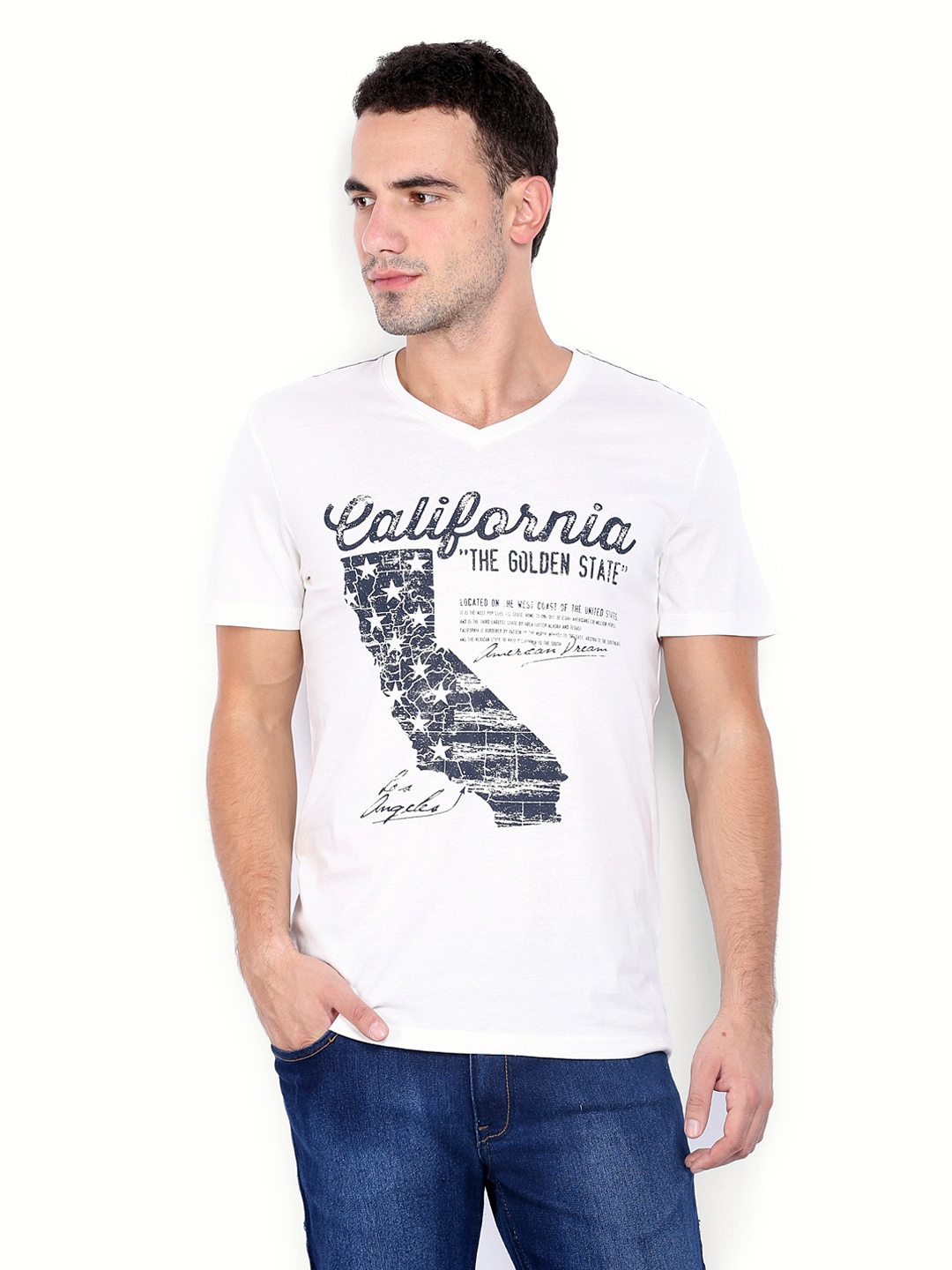 myntra celio men white printed t shirt 407714 buy myntra. Black Bedroom Furniture Sets. Home Design Ideas