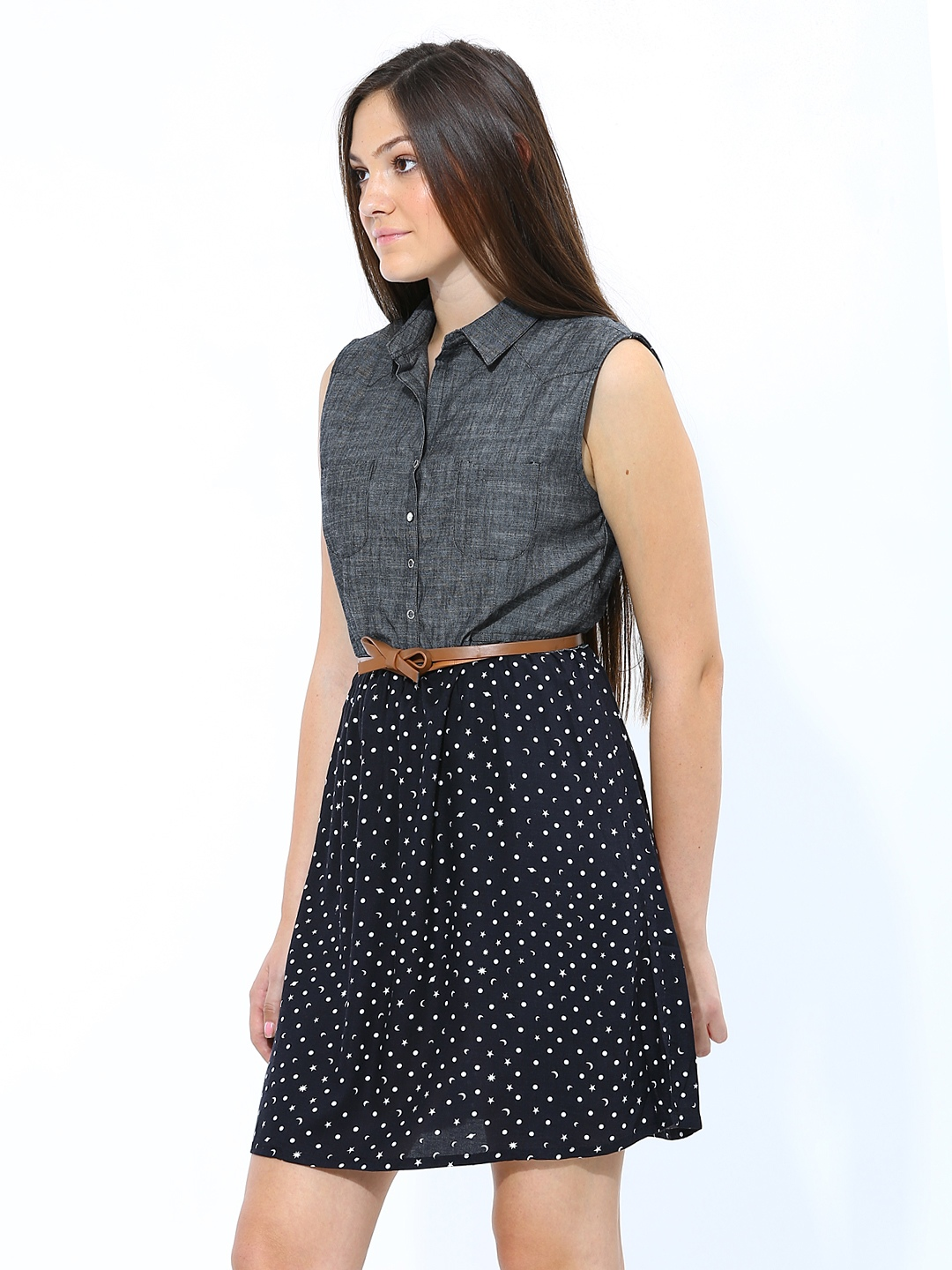Myntra chemistry charcoal grey black shirt dress 418069 for Dark grey shirt dress