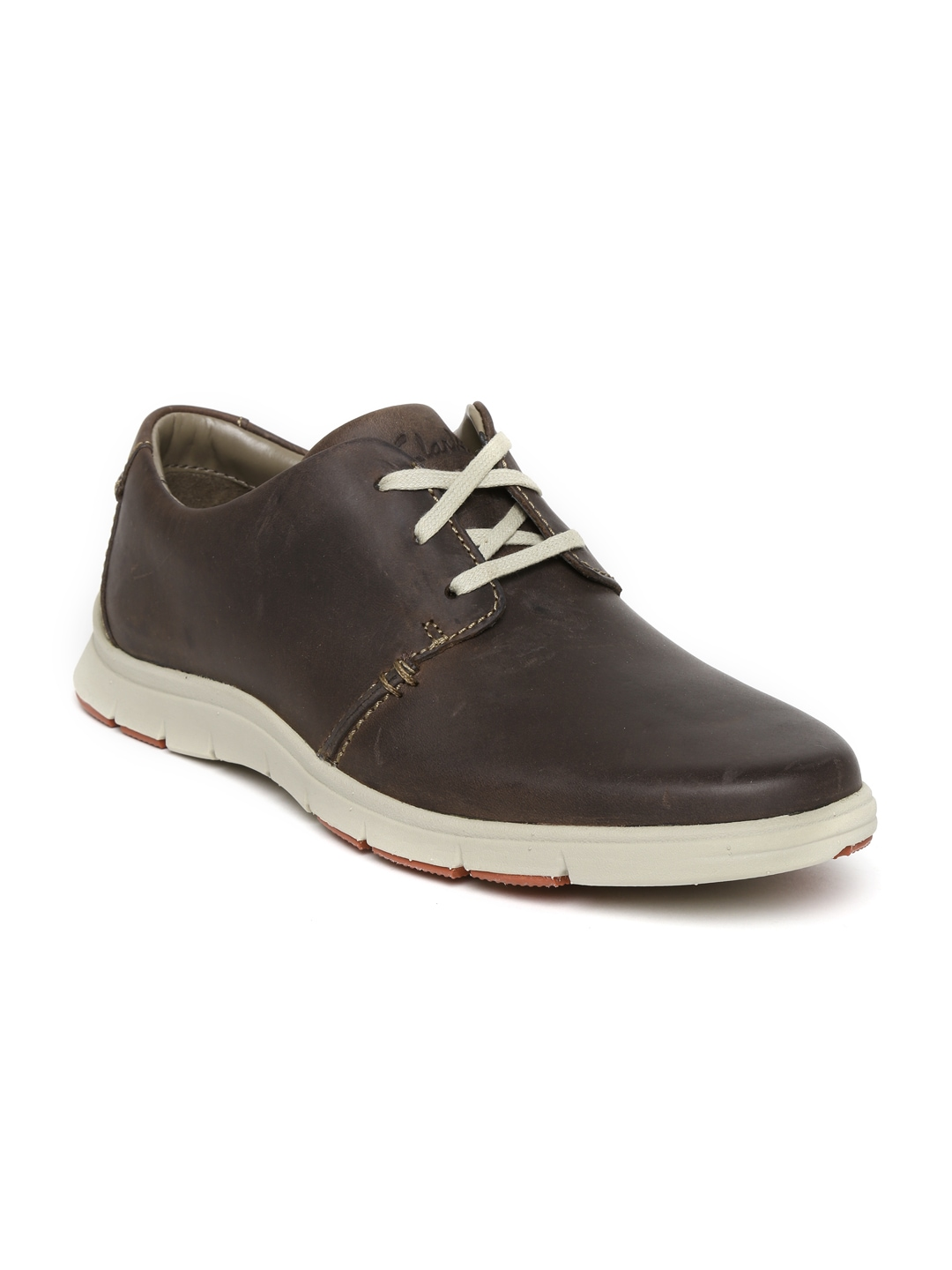 myntra clarks brown leather casual shoes 391410 buy