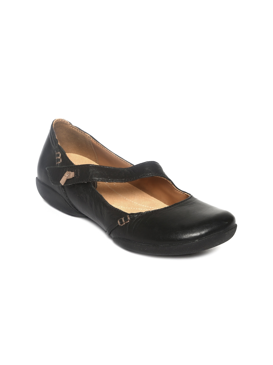 myntra clarks black leather flat shoes 382701 buy