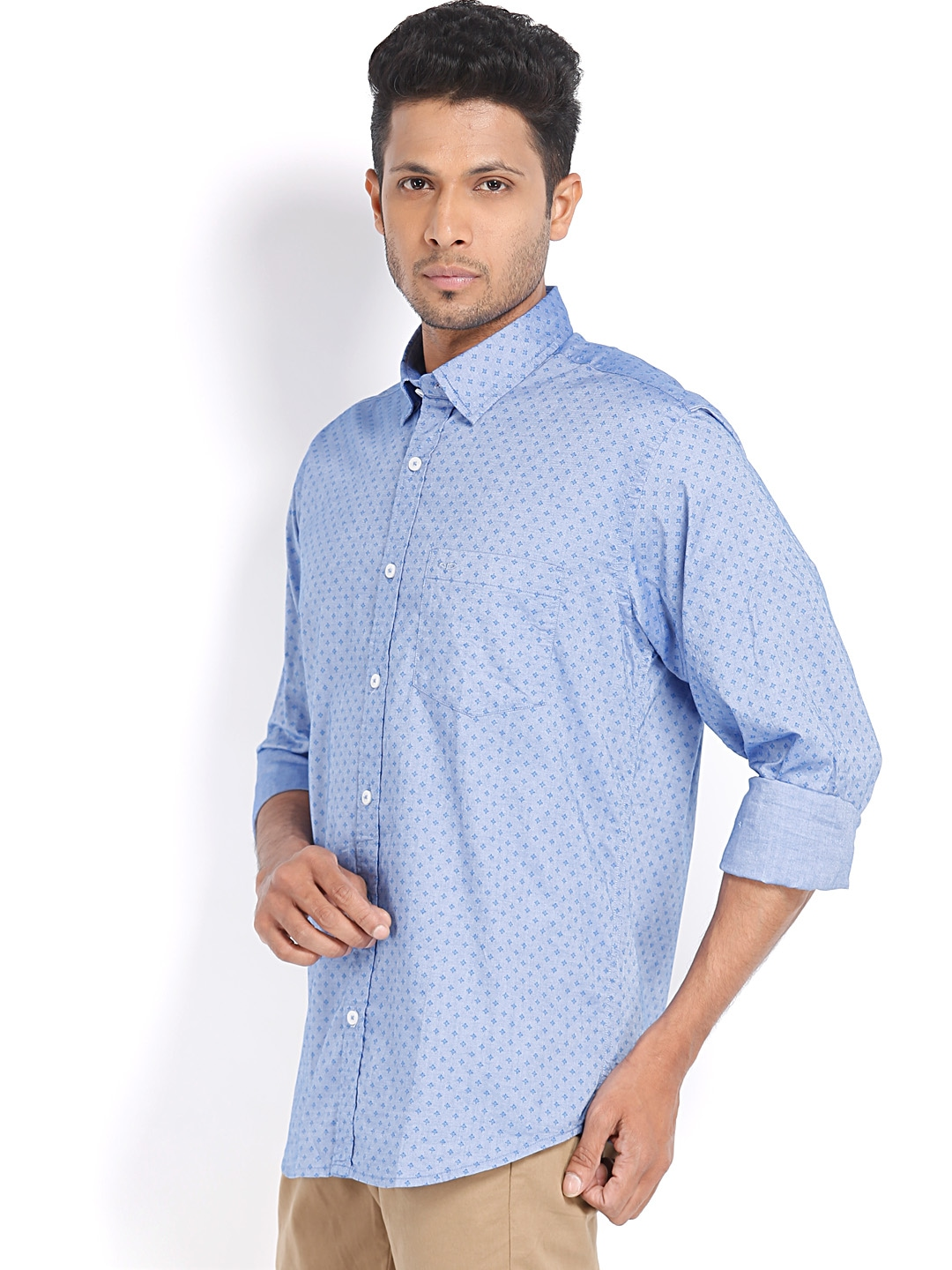 Myntra colorplus men blue printed tailored fit casual for Tailor dress shirt cost
