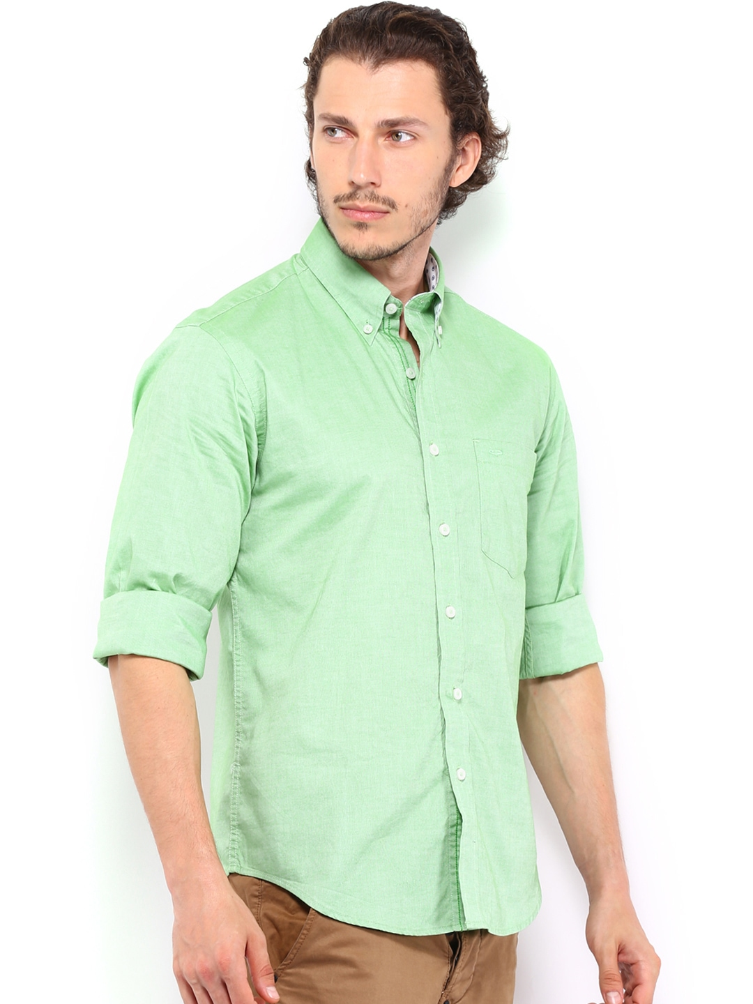 Myntra Colorplus Men Green Tailored Fit Casual Shirt