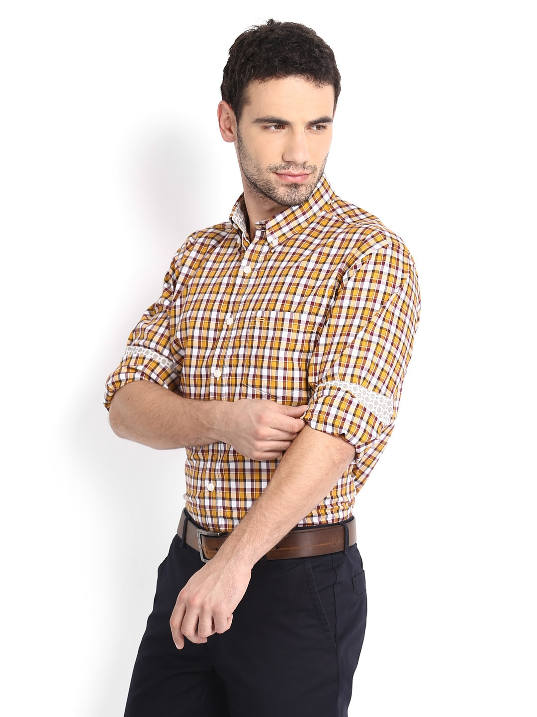 Myntra colorplus men mustard yellow white checked for Best online tailored shirts