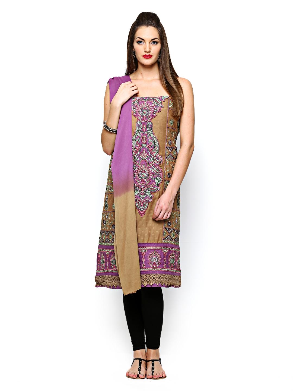 Myntra curtsey khaki purple embroidered unstitched dress
