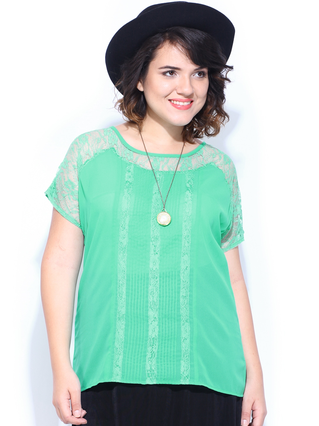 Myntra Curvy by DressBerry Women Green Lace Top 382872 ...