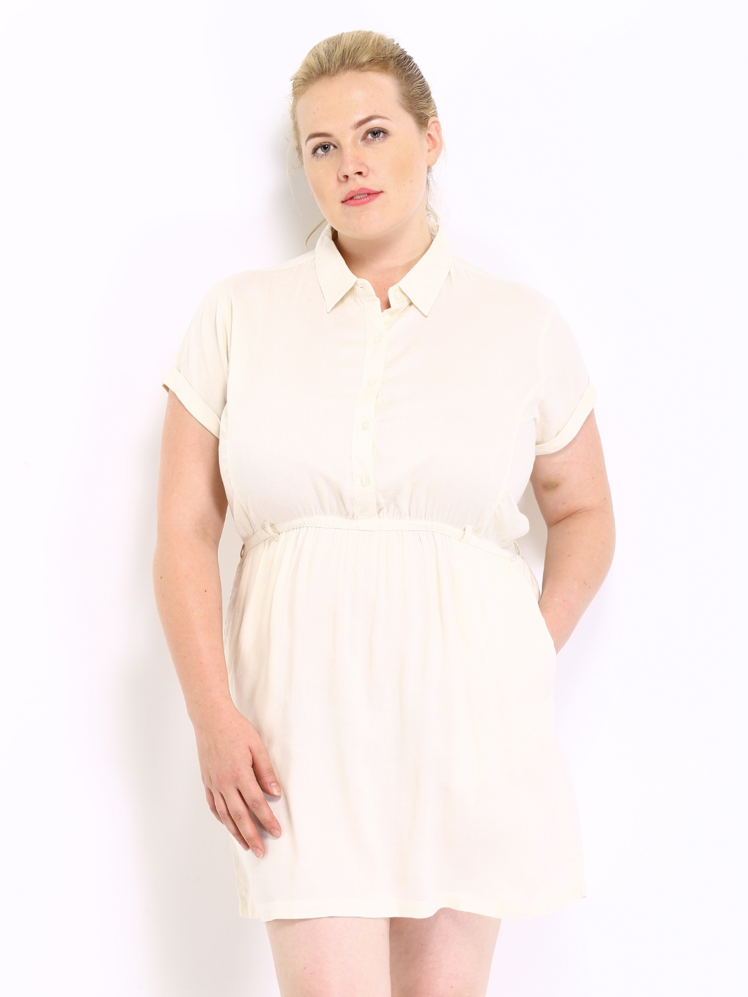 Myntra curvy by roadster off white shirt dress 330958 Buy white dress shirt