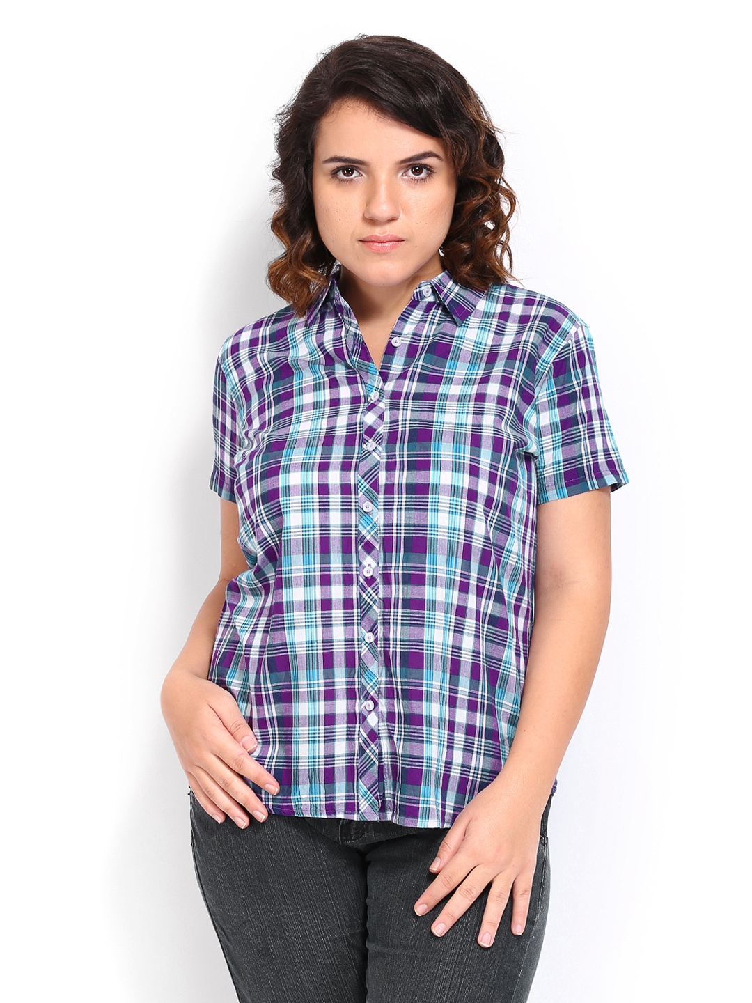 Myntra curvy by roadster women purple green checked for Womens green checked shirt