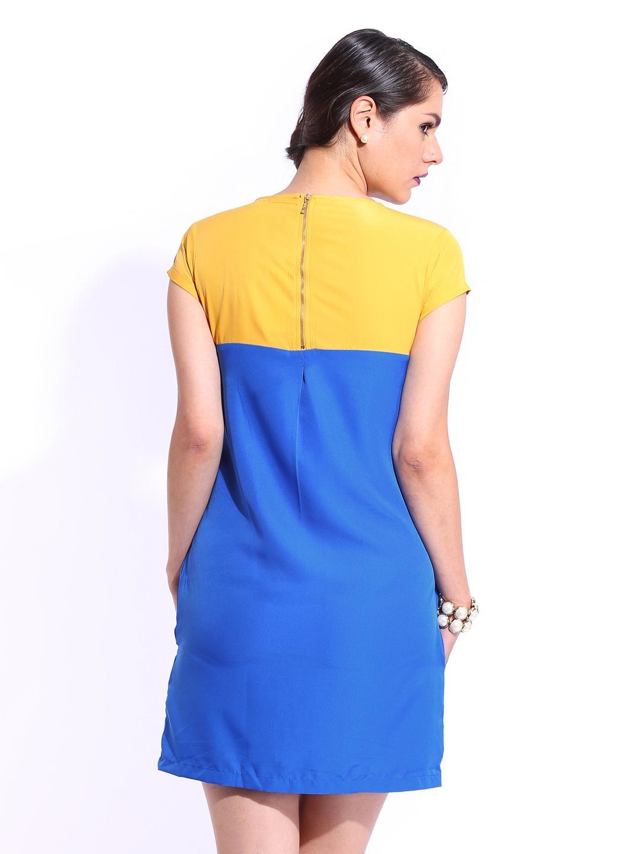 Myntra d muse blue mustard yellow column berry dress for Blue and yellow dress shirt