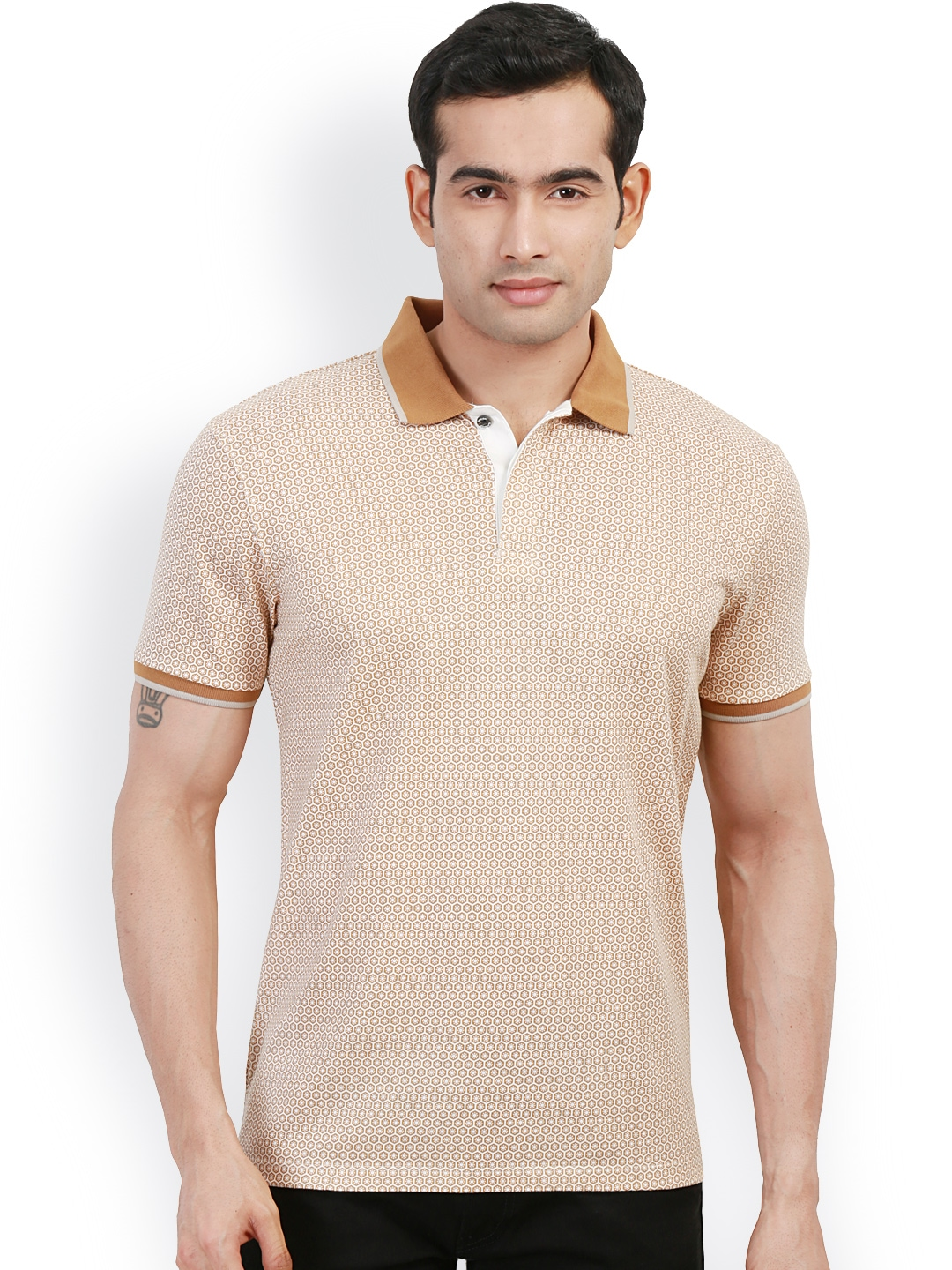 Myntra design classics brown white printed slim fit polo for White fitted polo shirts