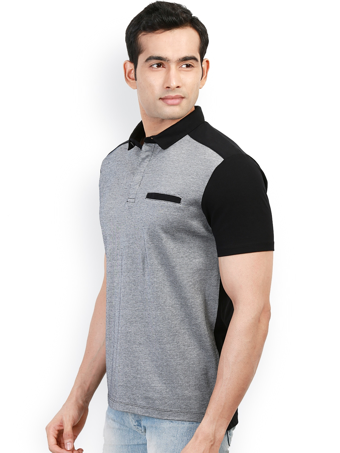 Myntra design classics grey black slim fit polo t shirt for Black fitted polo shirt