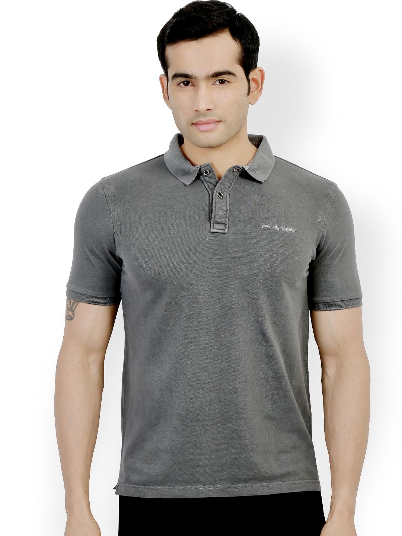 Myntra design classics grey slim fit polo t shirt 815483 for Myntra t shirt design