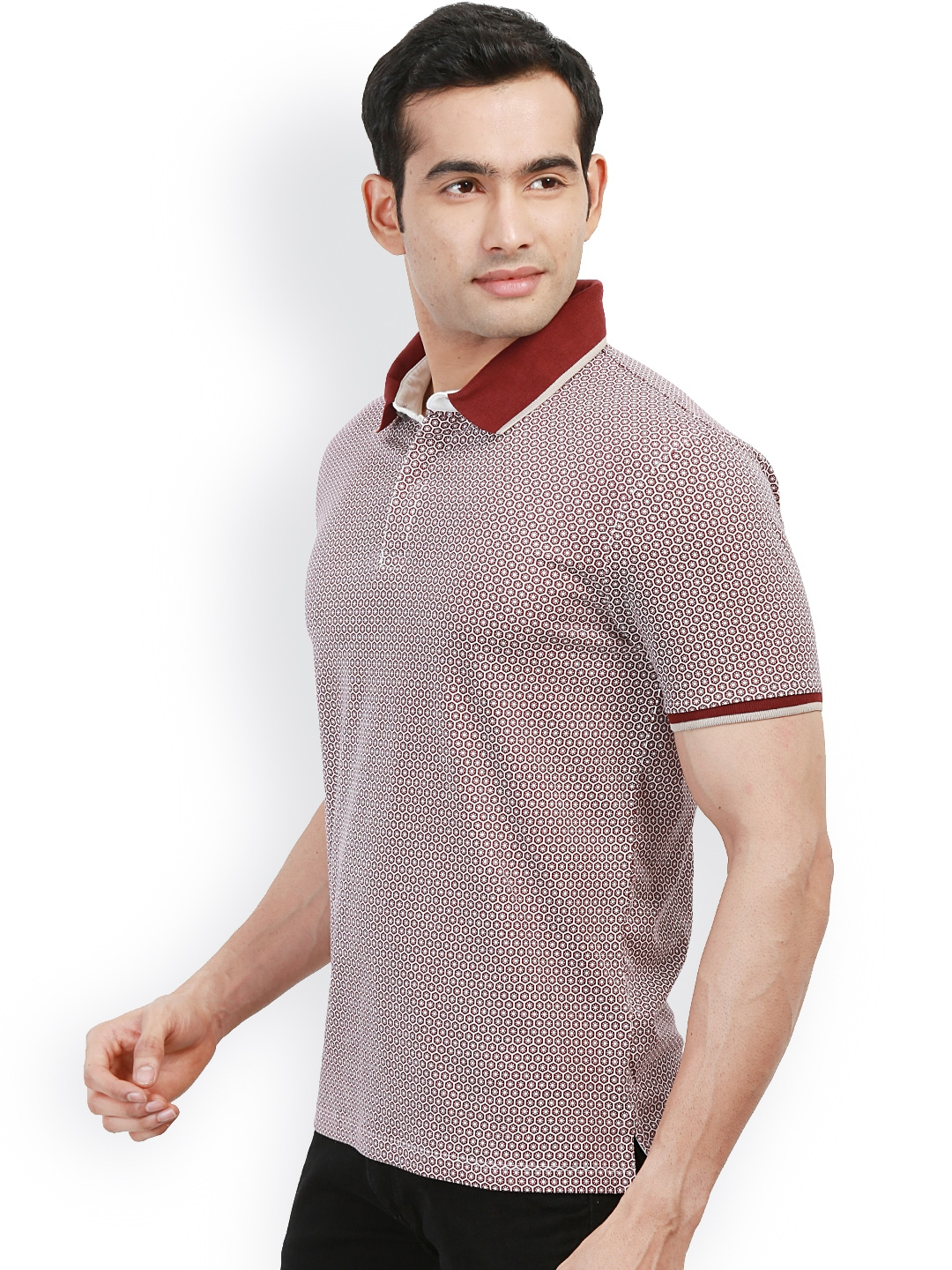 Myntra design classics maroon white printed slim fit for White fitted polo shirts