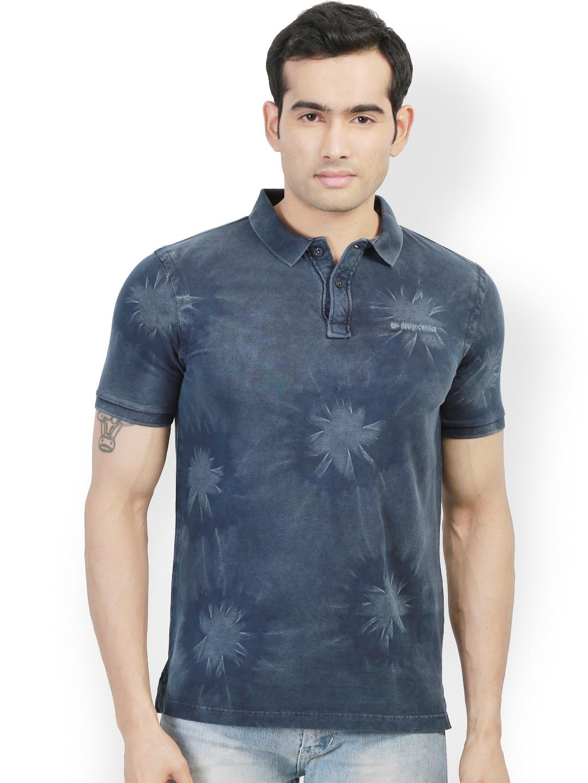 Myntra design classics navy printed slim fit polo t shirt for Myntra t shirt design