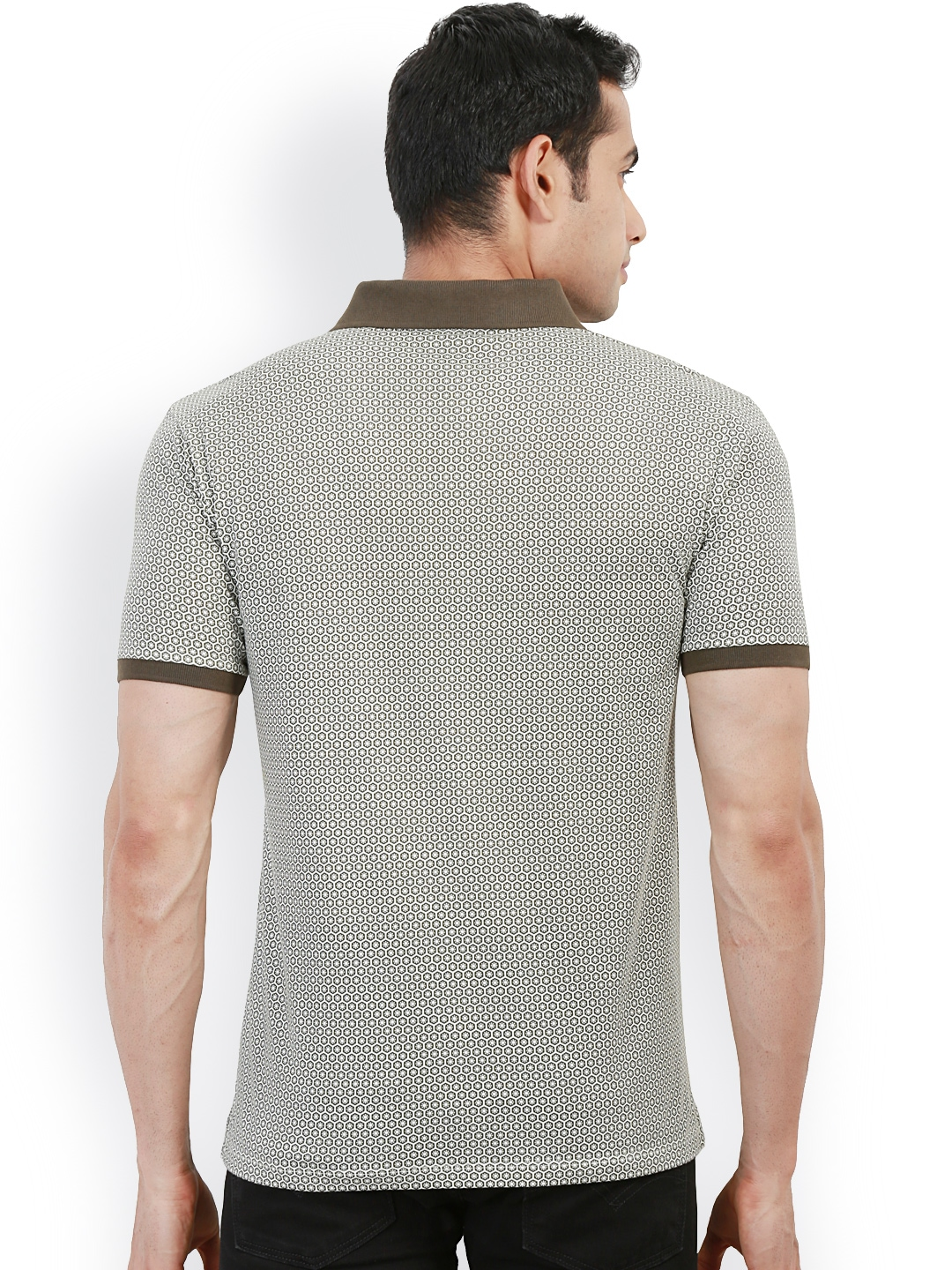 Myntra design classics olive green white printed slim for White fitted polo shirts
