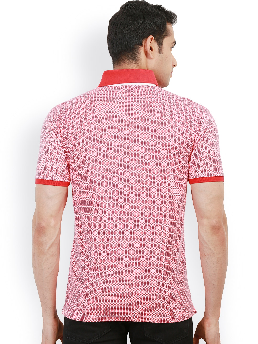 Myntra design classics red white printed slim fit polo t for Myntra t shirt design