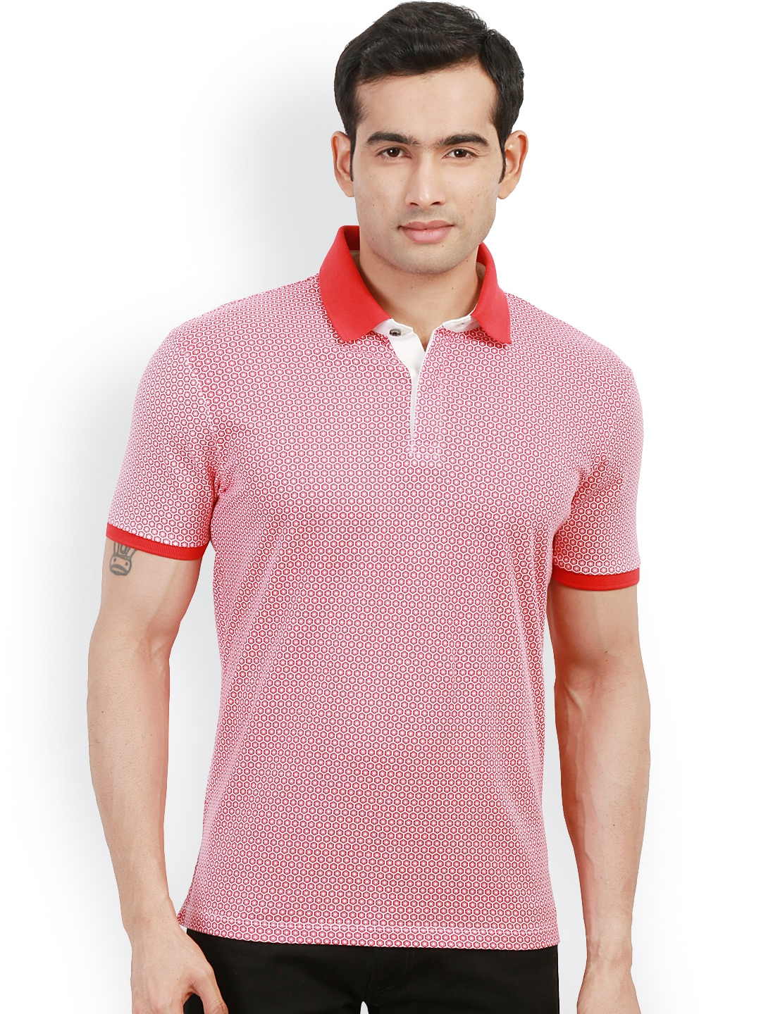 Myntra design classics red white printed slim fit polo t for White fitted polo shirts