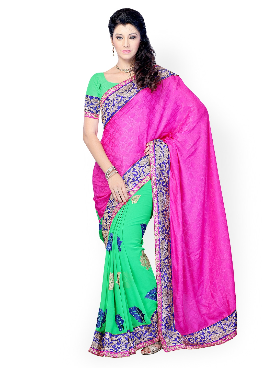 Myntra diva fashion pink green jacquard embroidered saree 396945 buy myntra viva n diva - Diva style fashion ...