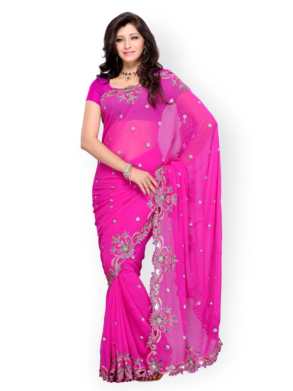 Myntra Diva Fashion Pink Embroidered Georgette Fashion Saree 377515 Buy Myntra Viva N Diva
