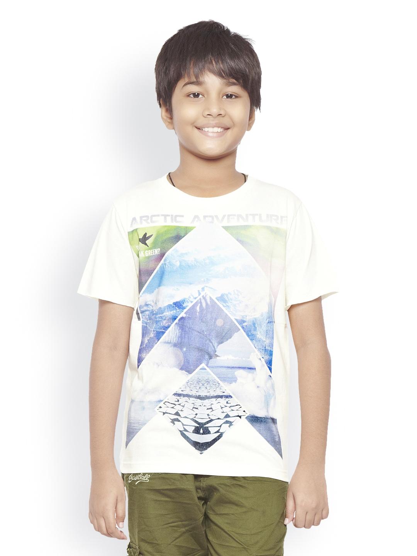 Myntra do u speak green boys white printed t shirt 484714 for Boys printed t shirts