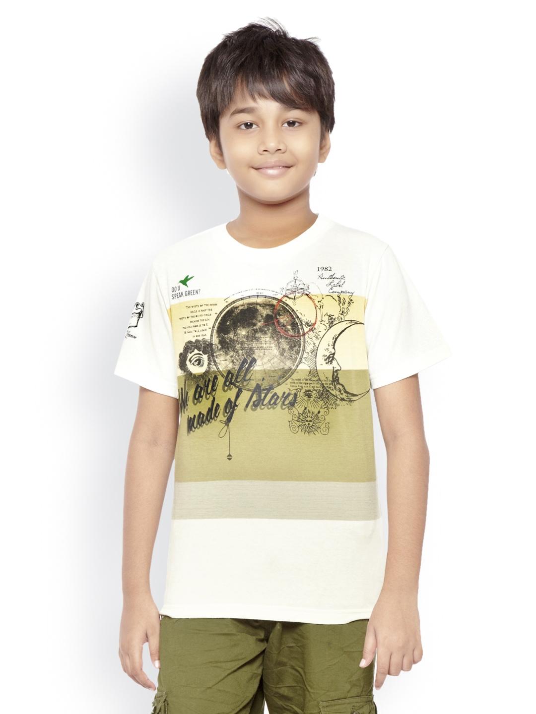 Myntra do u speak green boys white printed t shirt 484718 for Boys printed t shirts