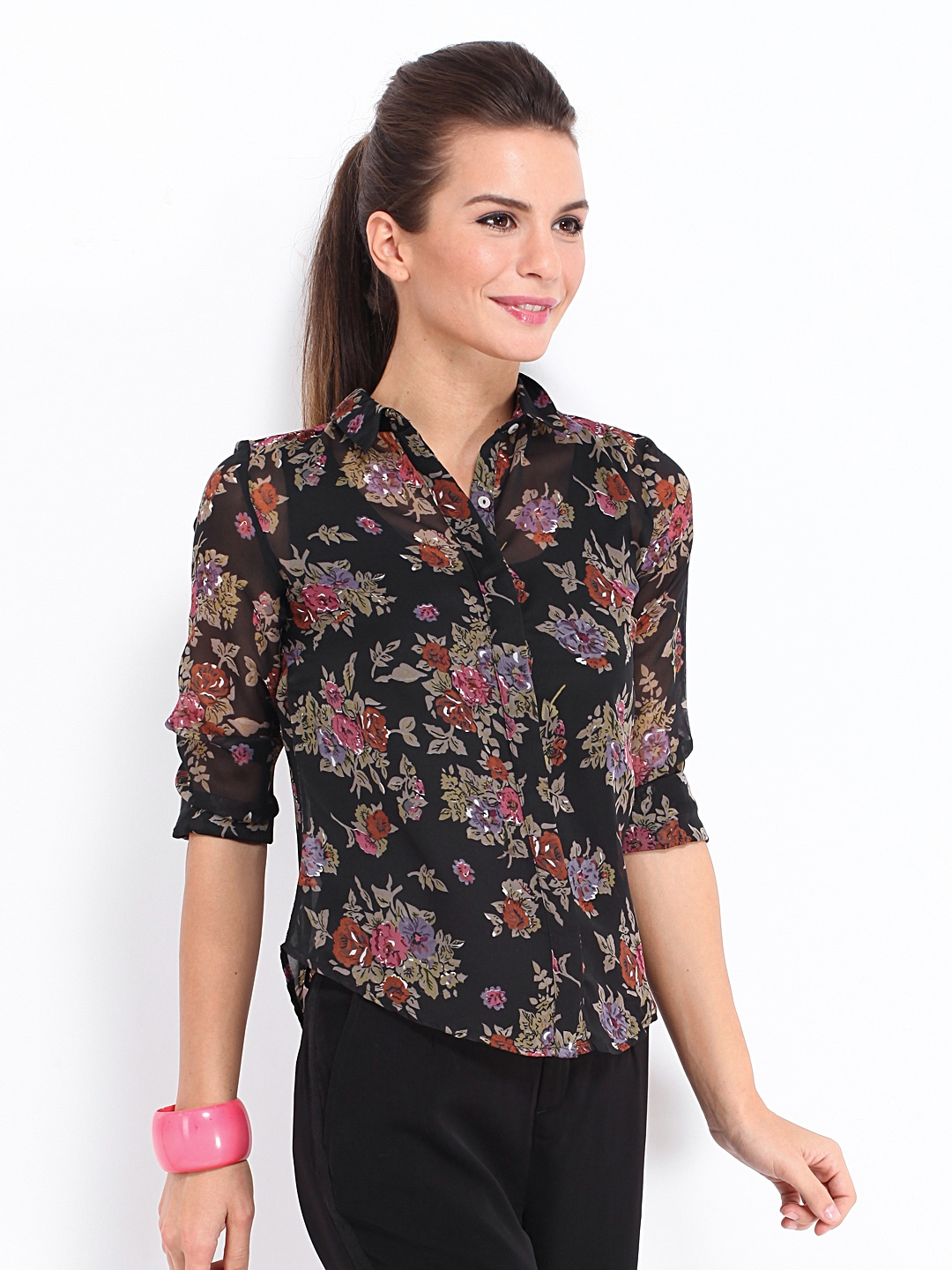Myntra dressberry women black sheer floral print shirt for Shirts online shopping lowest price