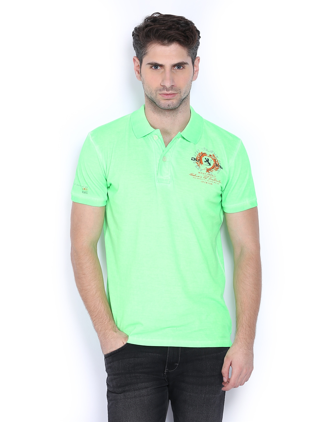 Myntra duke men neon green polo t shirt 354791 buy for Neon green shirts for men