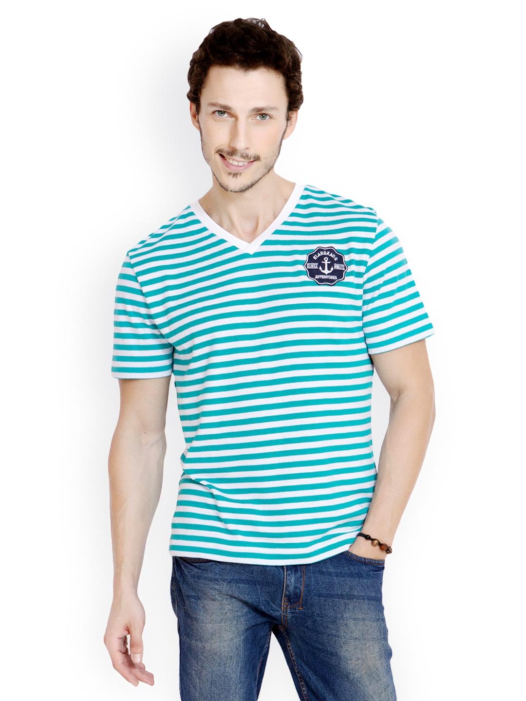 Myntra elaborado men green white striped t shirt 560465 for Best striped t shirt